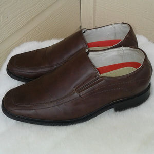 Little Boy's Dress Loafers Brown Leather Size 2